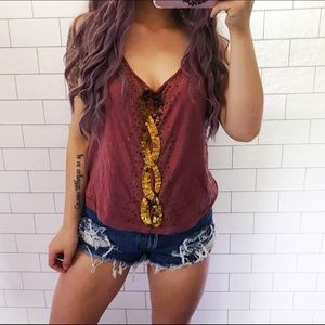 Urban outfitters sequin beaded boho tank